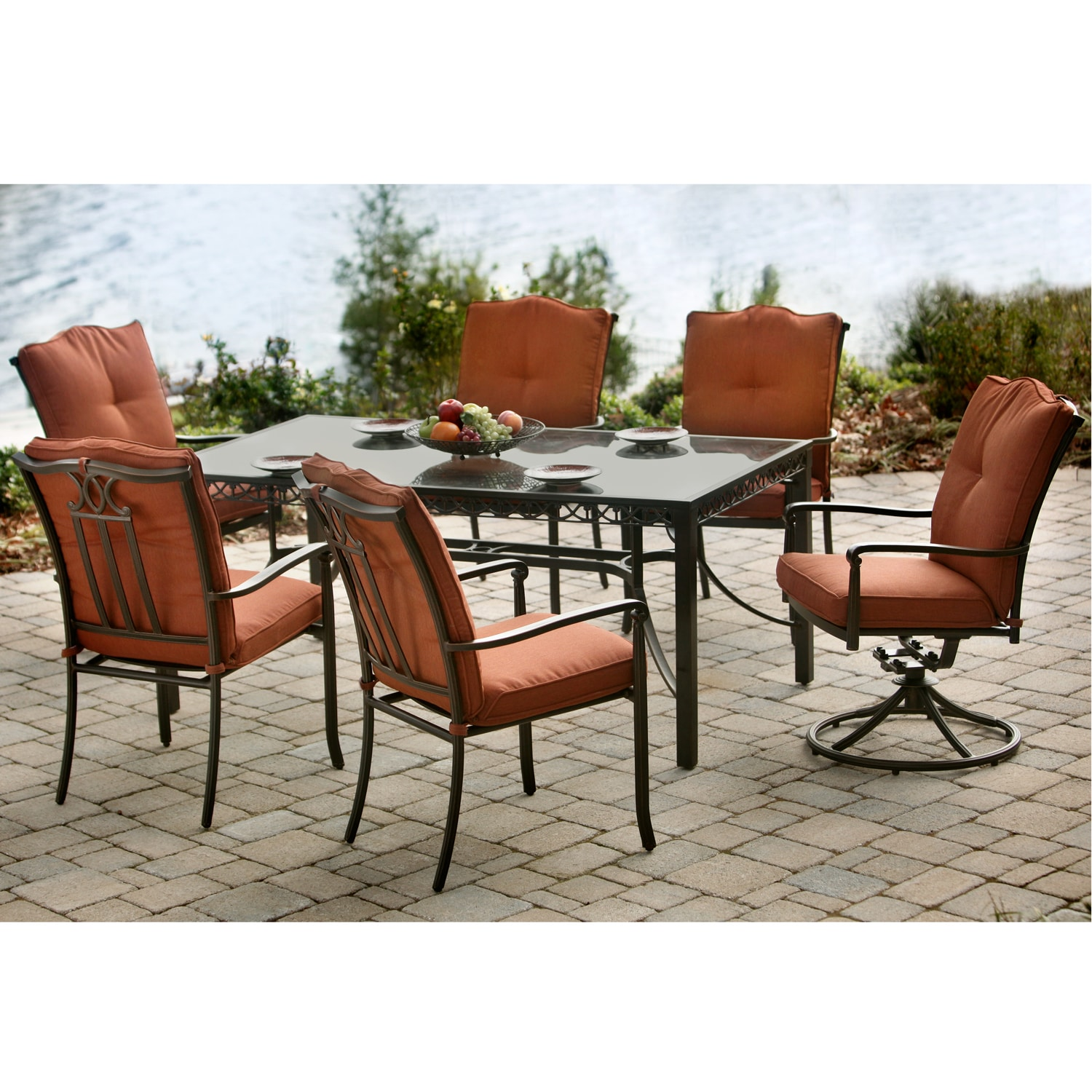 agio somerset rust 7 piece outdoor dining set free shipping today