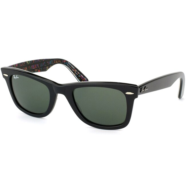 Ray-Ban Unisex 'RB2140' Black/ Freedom Rare Prints Wayfarer Sunglasses