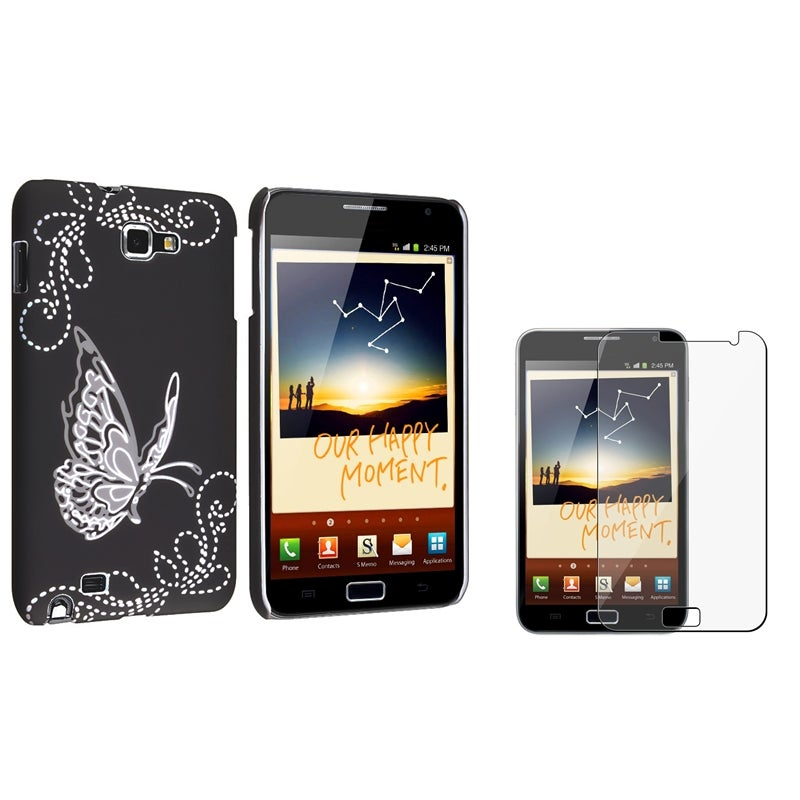 Black Rubber Case/ Screen Protector for Samsung© Galaxy Note N7000