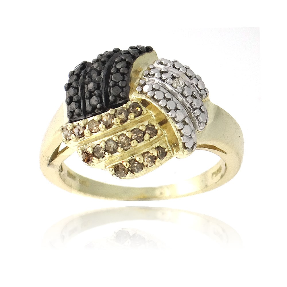DB Designs Gold over Silver 1/5ct TDW Black, White and Champagne Diamond Knot Ring (I-J, I3)