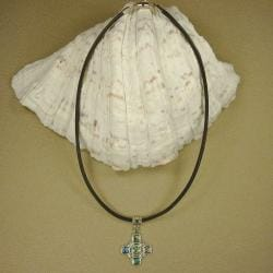 Jewelry by Dawn Cross Shaped Abalone Greek Leather Necklace
