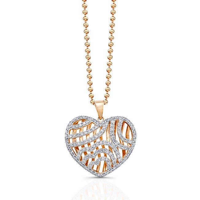 14k Rose-gold 1ct TDW White Diamond Heart Pendant (JK, I2-I3)