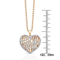 14k Rose-gold 1ct TDW White Diamond Heart Pendant (JK, I2-I3) - Thumbnail 2