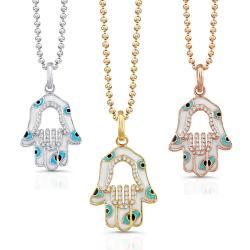 Victoria Kay 14k White Gold 1/5ct TDW White Diamond Hamsa Pendant with White Enamel Evil Eye
