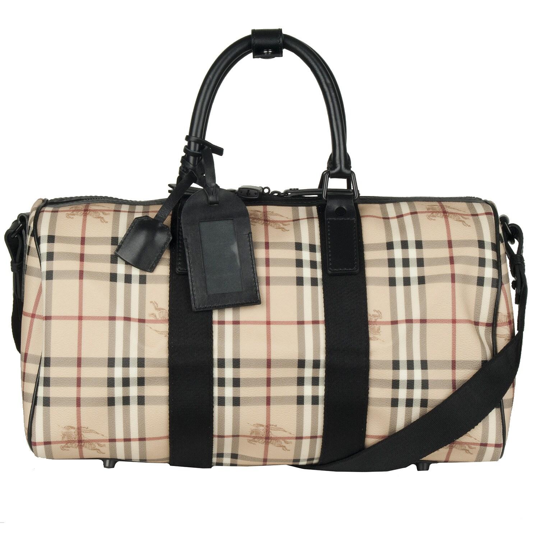 Burberry 'Crest' Plaid Duffle Bag