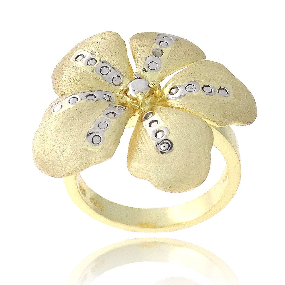 DB Designs 18k Gold over Sterling Silver Diamond Accent Flower Ring