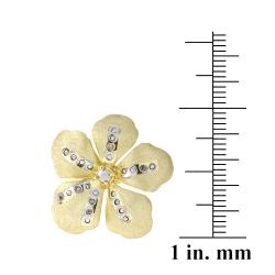 DB Designs 18k Gold over Sterling Silver Diamond Accent Flower Ring - Thumbnail 2