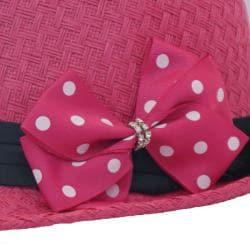 Katwalk Divaz Hot Pink Straw Rhinestone Bow Fedora