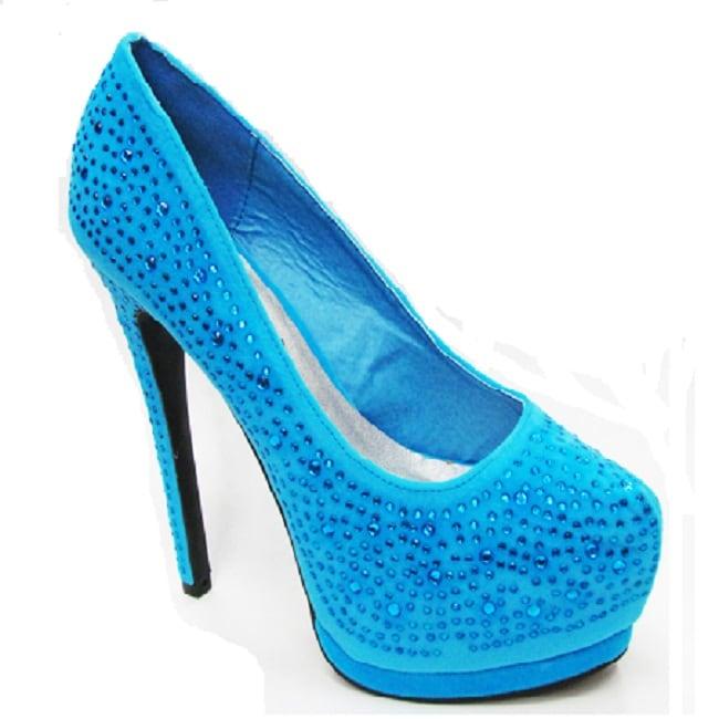 Toi et Moi Women's 'Daisy-05' Blue Satin Jewel Pointed Toe Platform Pumps