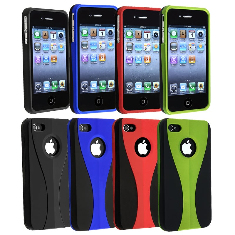 Green/ Dark Blue/ Black/ Red Snap-on Case for Apple iPhone 4/ 4S - Thumbnail 0