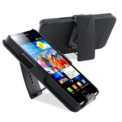 Black Holster with Stand/ LCD Protector for Samsung Galaxy S 2 i9100 - Thumbnail 1