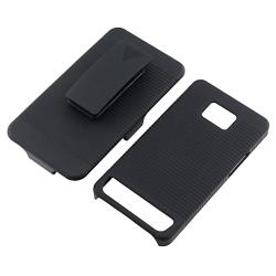 Black Holster with Stand/ LCD Protector for Samsung Galaxy S 2 i9100 - Thumbnail 2