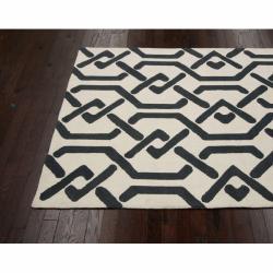 nuLOOM Handmade Marrakesh Trellis Charcoal Wool Rug (7'6 x 9'6) - Thumbnail 1