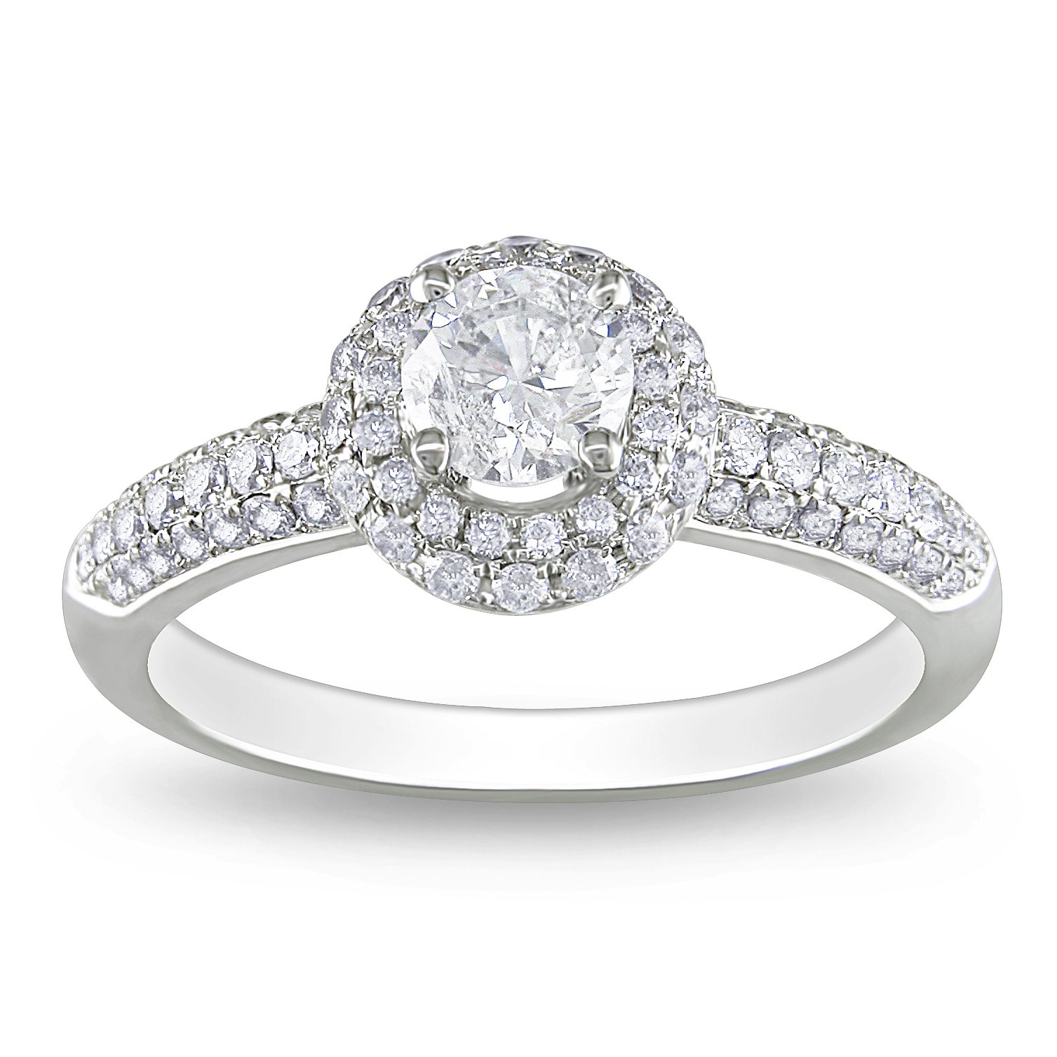 Miadora 14k White Gold 1ct TDW Diamond Halo Engagement Ring (G-H, I1-I2)