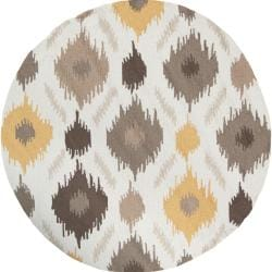 Hand-hooked Corning Mossy Gold Rug (3' Round)