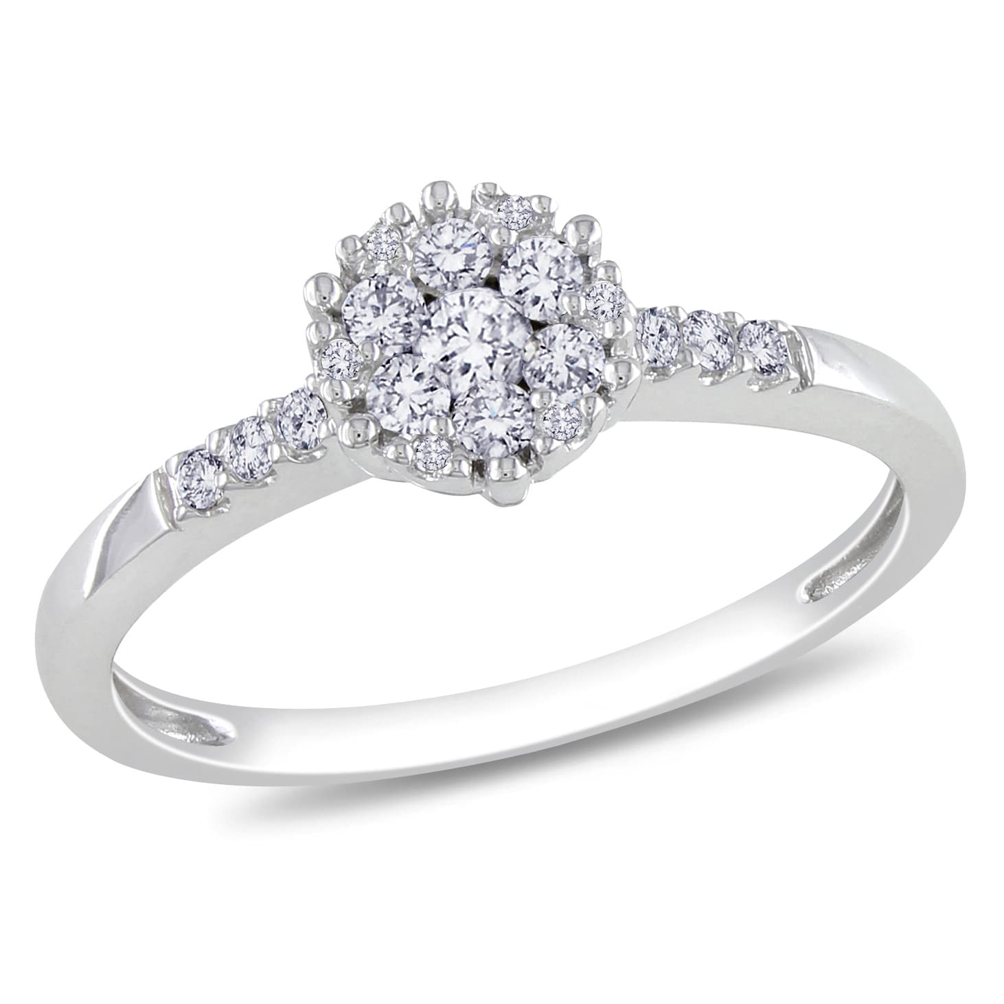 Miadora 14k White Gold 1/4ct TDW Diamond Cluster Ring