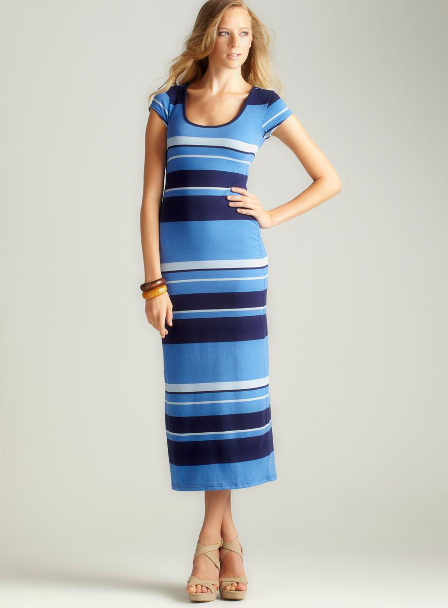 Planet Gold C/S Scoop Nk Stripe Maxi