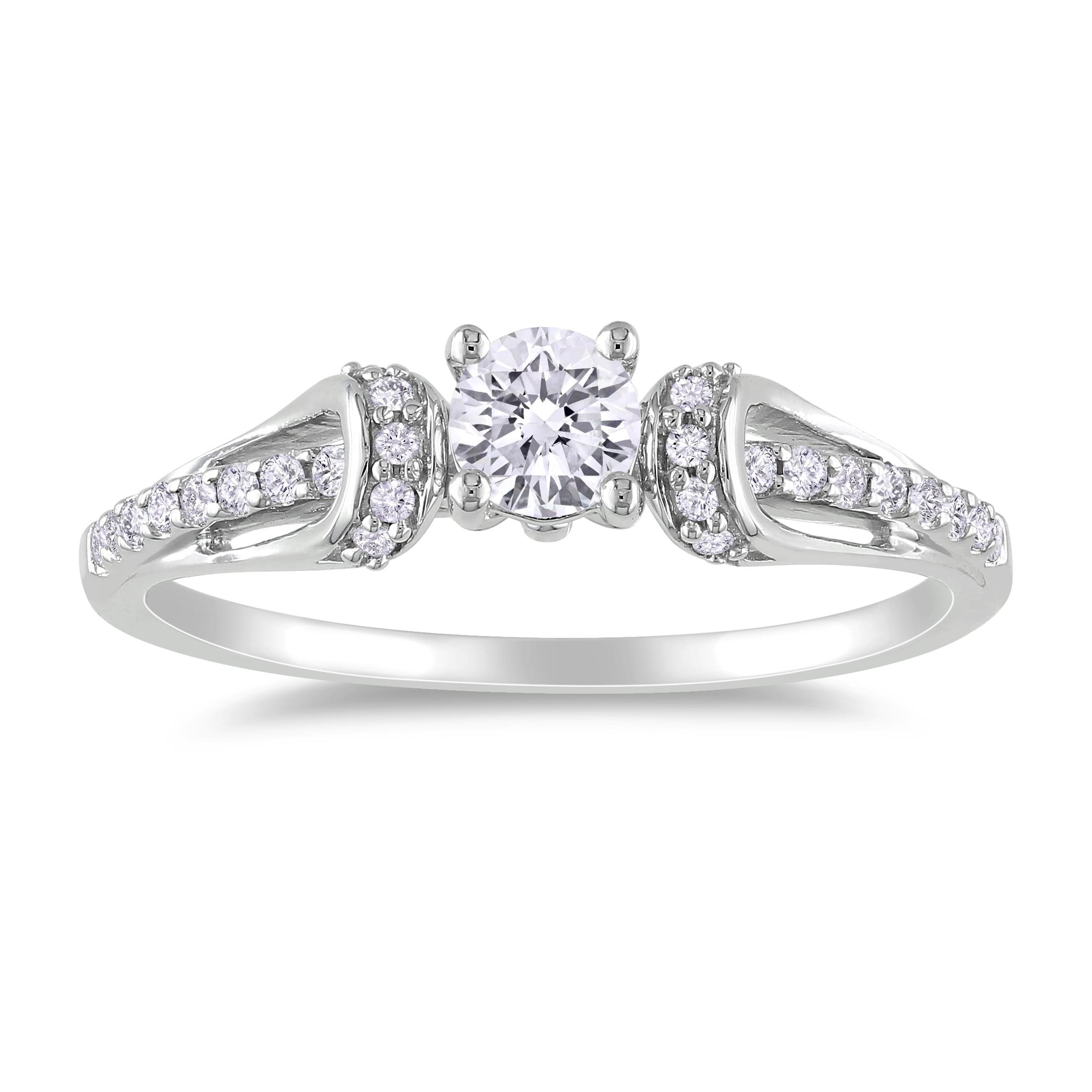 Miadora 18k White Gold 2/5ct TDW Diamond Engagement Ring