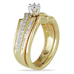 Miadora 10k Yellow Gold 1/2ct TDW Diamond Bridal Ring Set (H-I, I2-I3) - Thumbnail 1
