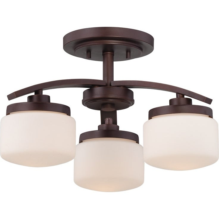 Nuvo Austin 3-light Russet Bronze Semi-flush Fixture