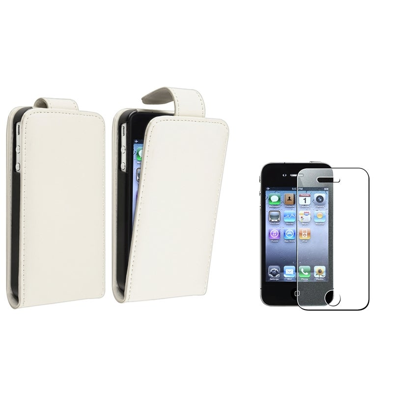 White Leather Case/ Colorful Screen Protector for Apple® iPhone 4S