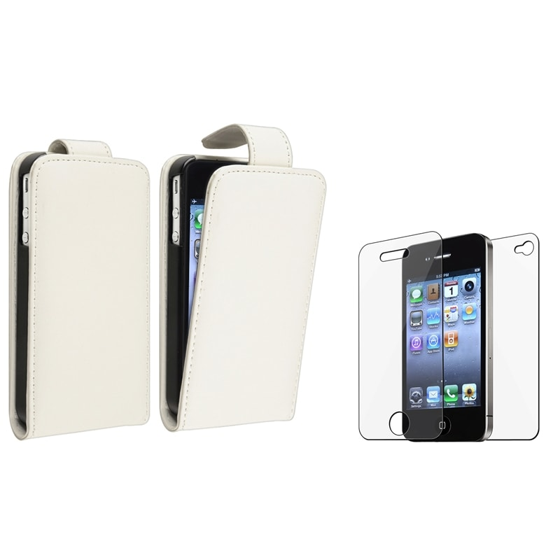 White Leather Case/ Screen Protectors for Apple® iPhone 4/ 4S