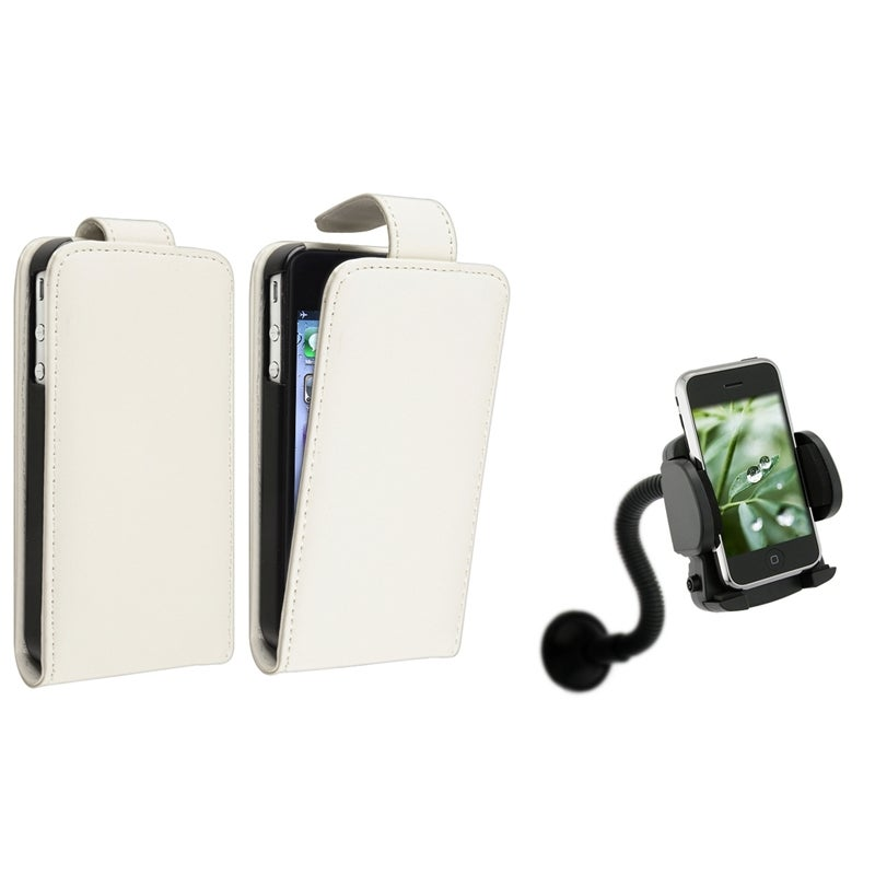 White Leather Case/ Windshield Mount for Apple® iPhone 4/ 4S