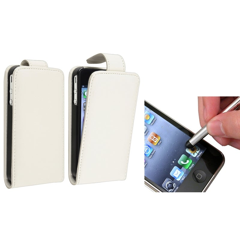 White Leather Case/ Silver Stylus for Apple iPhone 4/ 4S