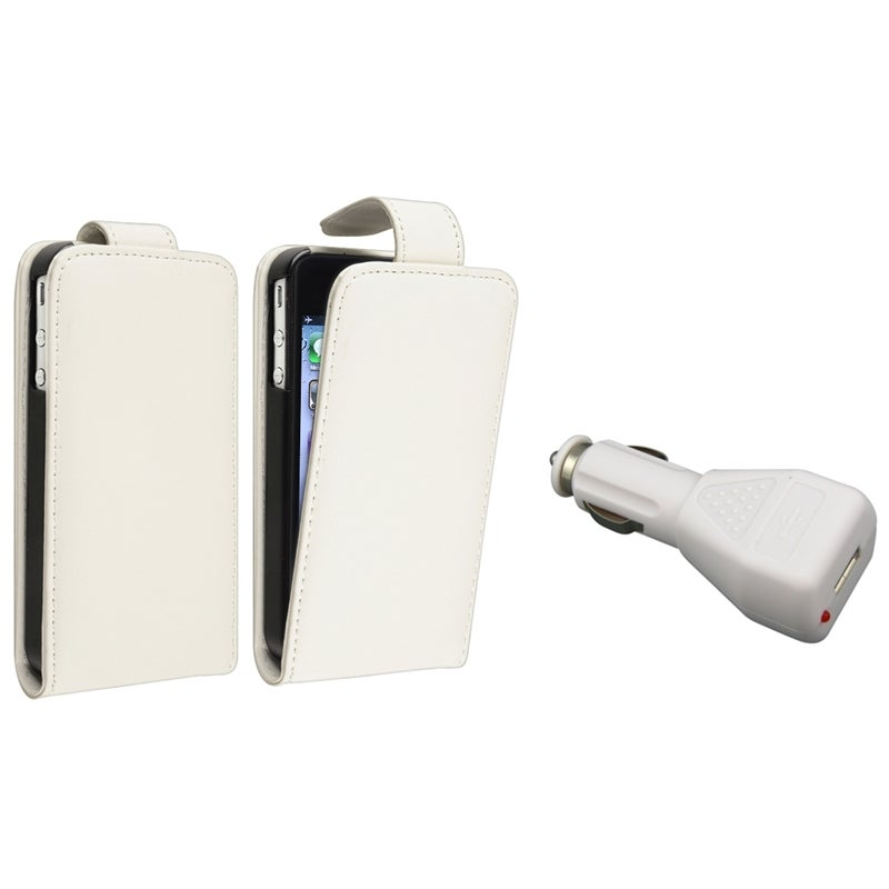 White Leather Case/ White Car Charger for Apple® iPhone 4/ 4S