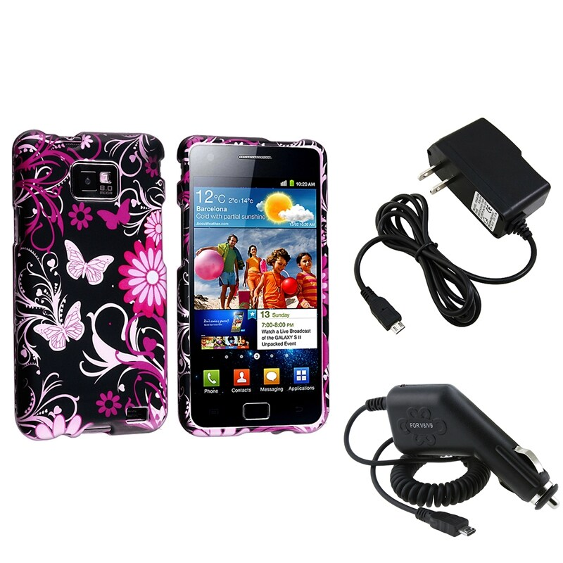 Black Rubber Coated Case/ Chargers for Samsung Galaxy S II/ S2 i9100