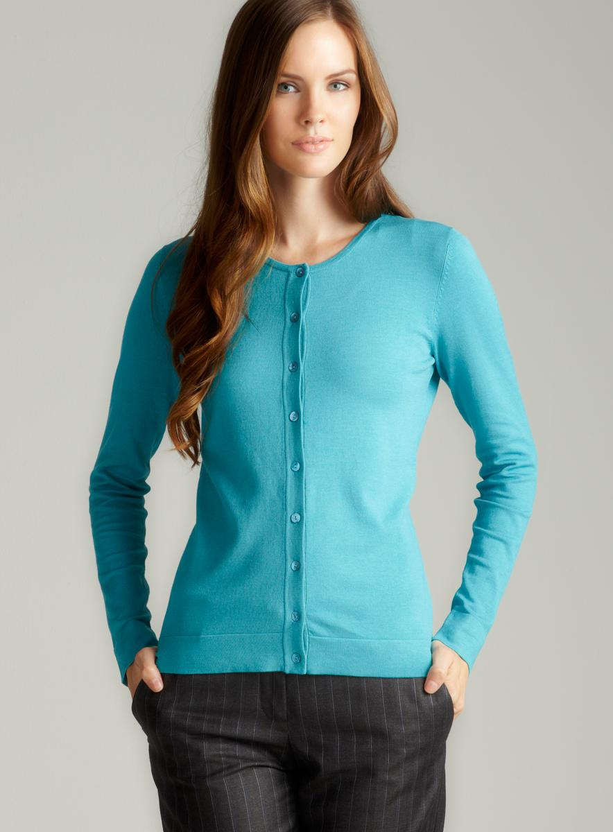 August Silk Turquoise Twin Set Cardigan