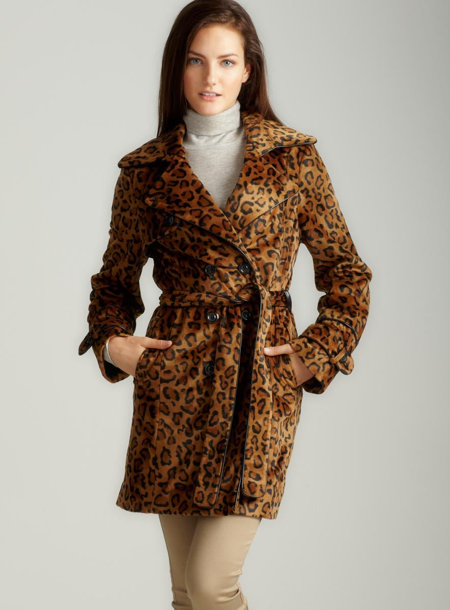 Betsey Johnson Leopard Faux Fur Trench