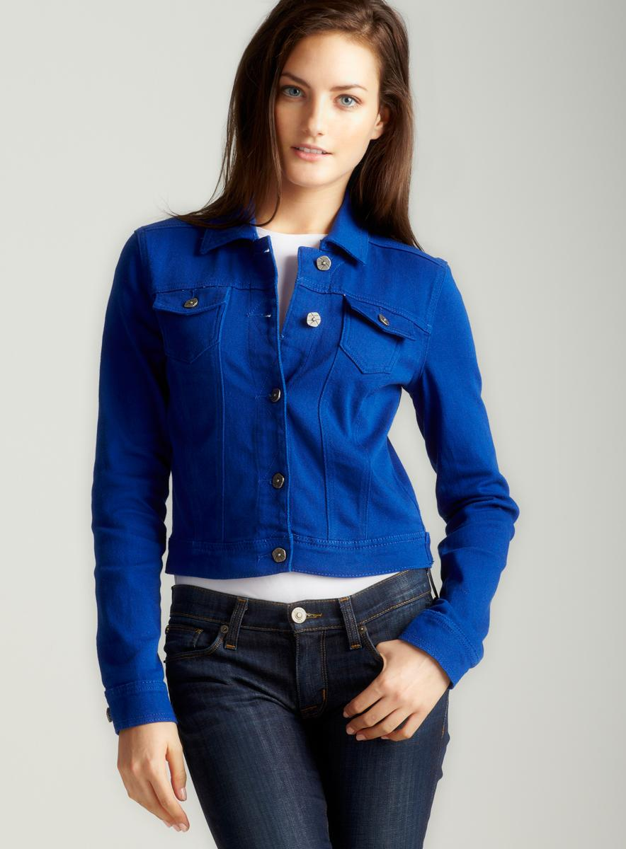 hot kiss crop denim jacket in royal blue  free shipping