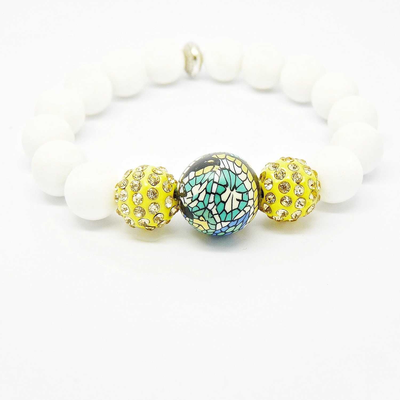 Pretty Little Style White Jade Beaded Satin Stretch Bracelet