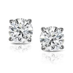 Platinum Clarity-enhanced Round Diamond Stud Earrings (J-K, SI1-SI2)