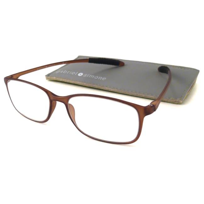 Gabriel+Simone Readers Men's/ Unisex Flexi-Grande Brown Reading Glasses