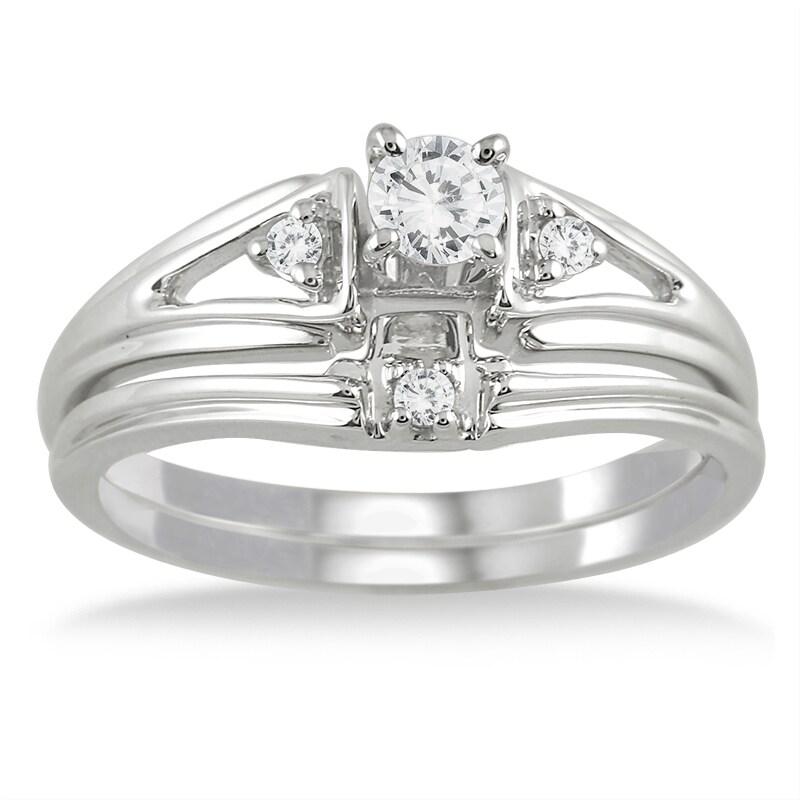 Marquee Jewels 10k White Gold 1/4ct TDW White Diamond Bridal Ring Set (I-J, I1-I2)