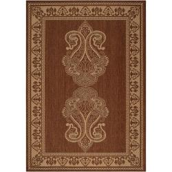 Campania Beige Border Indoor/Outdoor Rug (6' x 9')