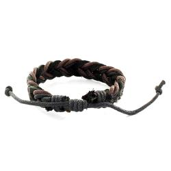West Coast Jewelry Two-tone Woven Leather Cord Bracelet - Thumbnail 1