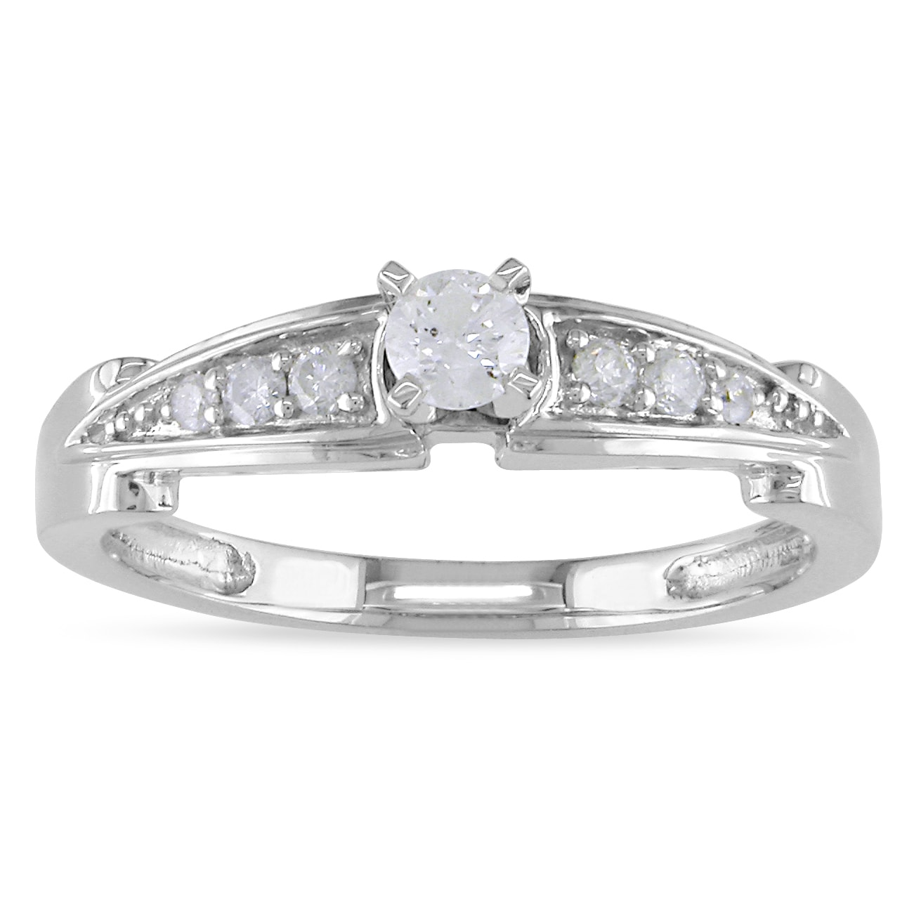 Miadora 14k White Gold 1/4ct TDW Diamond Promise Ring