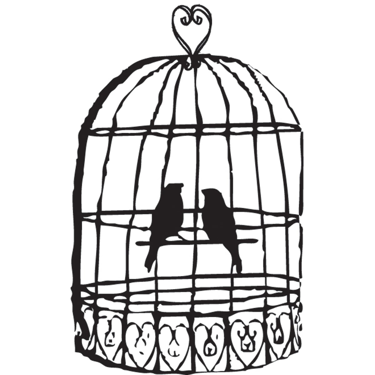 Mounted Rubber Stamp 2 5 Quot X2 Quot Love Bird Cage Free