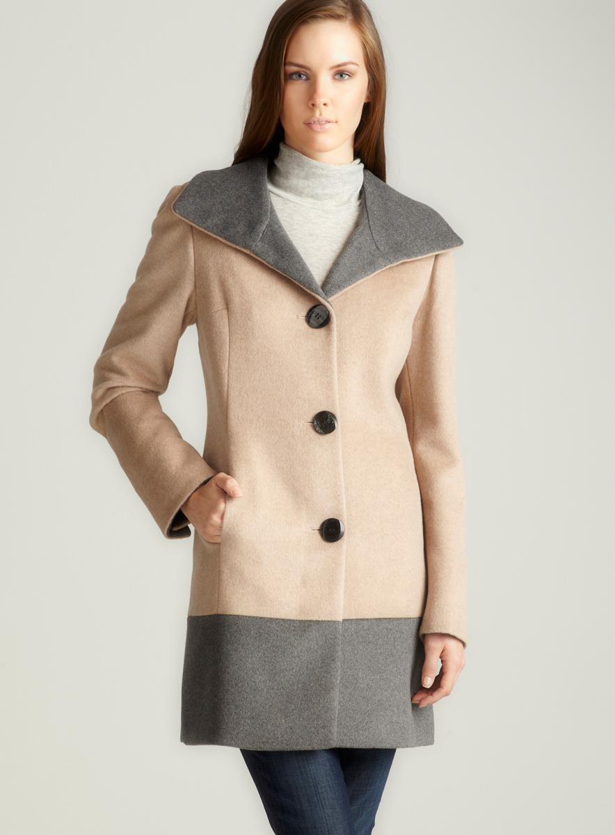 Ellen Tracy Stand Collar Colorblock Coat