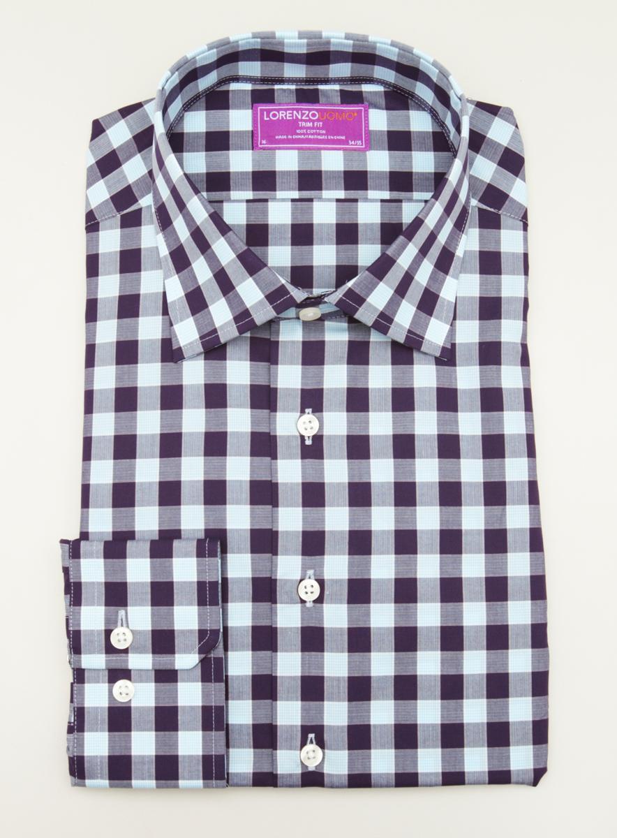 Lorenzo Uomo Dress Shirt Check Pattern