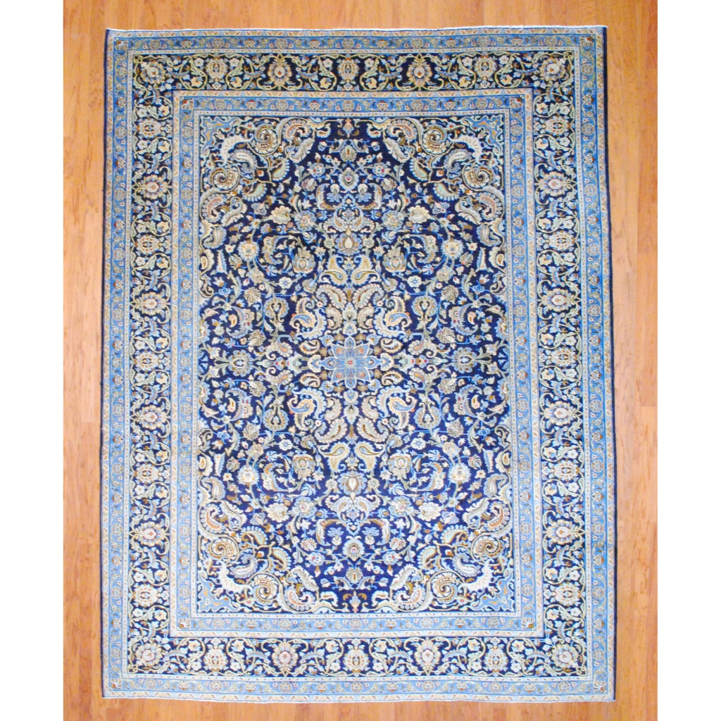 Hand Knotted Persian Isfahan Wool Area Rug: Persian Hand-knotted Isfahan Navy/ Ivory Wool Rug (9'3 X