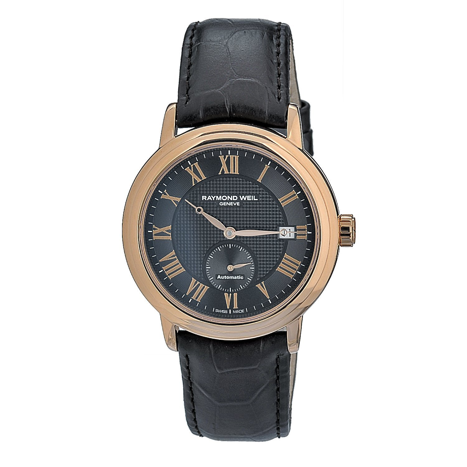 Raymond Weil Men's Automatic Leather Strap Two-tone Watch