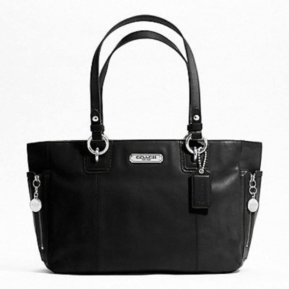 Coach 'Gallery' Black Leather Tote Bag