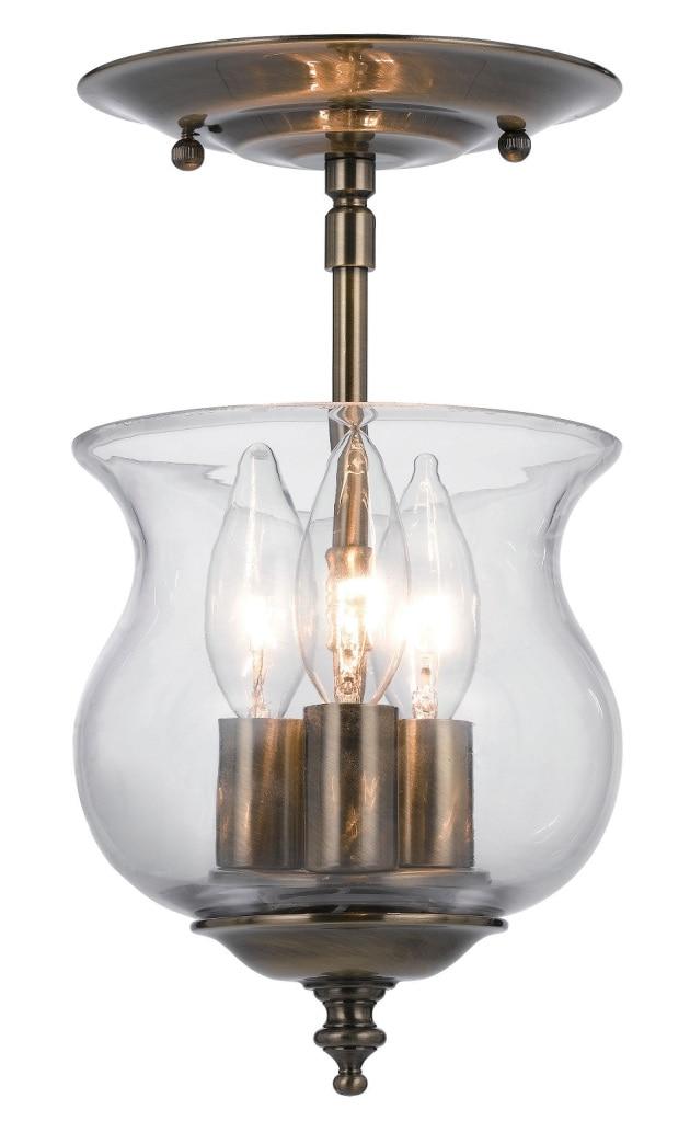 Crystorama Ascott Collection 3-light Antique Brass Semi-flush Mount