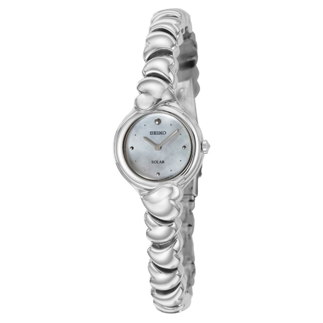 Seiko Women's 'Solar' White Dial Stainless Steel Watch