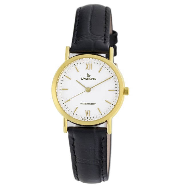 Black Leather White Dial Gold-tone Indices Women's Watch