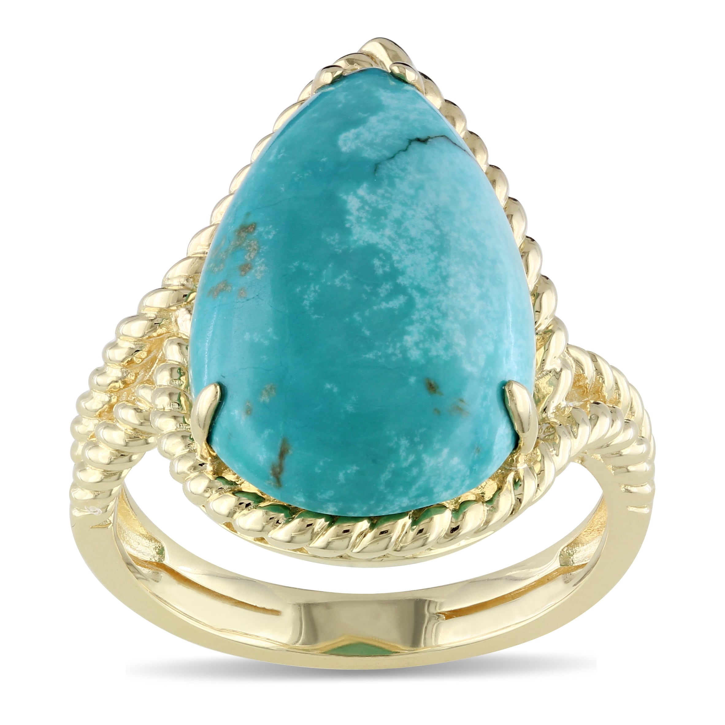 Miadora Yellow Rhodium-plated Silver Turquoise Ring